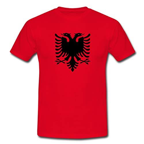 Albanien Flagge Adler Shqiperia Doppeladler Männer T-Shirt, XL, Rot