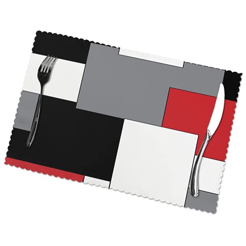 Placemat Set of 6 White Grey Black Red Irregular Geometric for Dining Decor Heat Resistant Place Mats Stain Resistant Anti-Skid Washable Table Cloth