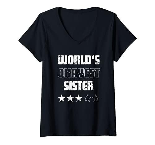 Mujer Regalos para las Hermanas - Mundos más Bien Hermana Camiseta Cuello V