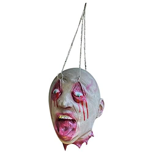 HUSHUI Cabeza Cortada Colgante de Halloween, Cabeza Cortada Colgante de Horror de Cabeza de Zombi de Halloween para Accesorios de Fiesta de Casas embrujadas