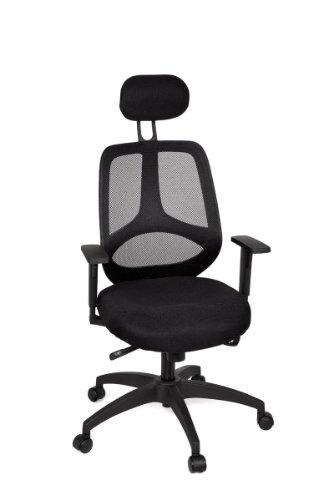 KadimaDesign Silla de Oficina Florencia 2 Deluxe Silla de Escritorio Negro, sillas de Oficina giratoria con reposabrazos y reposacabezas y sincronización