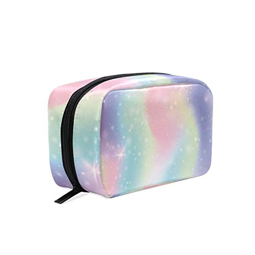 Cosmetic Bag with Zipper Rainbow Starry Sky Clutch Travel Storage Bag Organizer Case for Women Makeup Pouch Bag