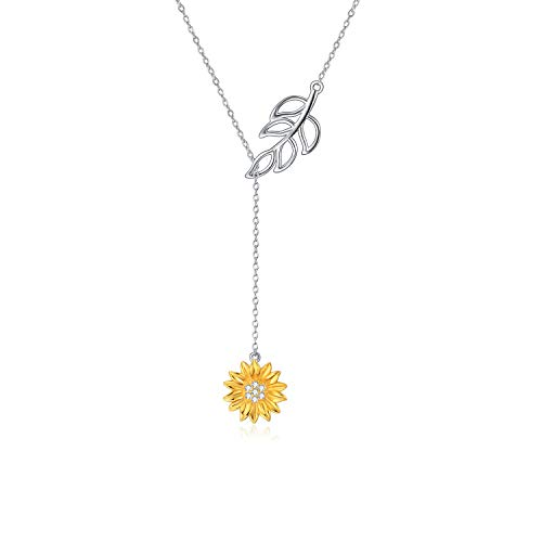 'You are My Sunshine'Sterling Silver Y Lariat Sunflower Pendant Necklace for Women Girls (leaf sunflower necklace)
