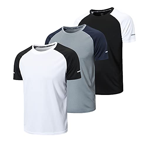 frueo 3 Piezas Camisetas Manga Corta Hombre Camiseta Deporte Hombre de Secado Rápido Ropa Running Camiseta Gimnasio Hombre(20086) Black Gray White-XL