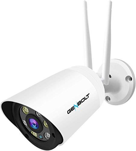 1080p impermeabile WiFi telecamera IP–Genbolt GB600H (2017New design) wireless HD visione notturna CCTV casa di sorveglianza di sicurezza esterna telecamera Bullet IP, rilevatore, 50metri di visione notturna, Sony sensore 1080p IR LED di alta qualità, staffe di montaggio libero, 64GB Storage slot, 10mil, 3dBi, 2Megapixel Lens, alloggiamento IP66resistente alle intemperie, 1000+ Instagram likes posteriore, ore di assistenza clienti, reso garantito, garanzia anni