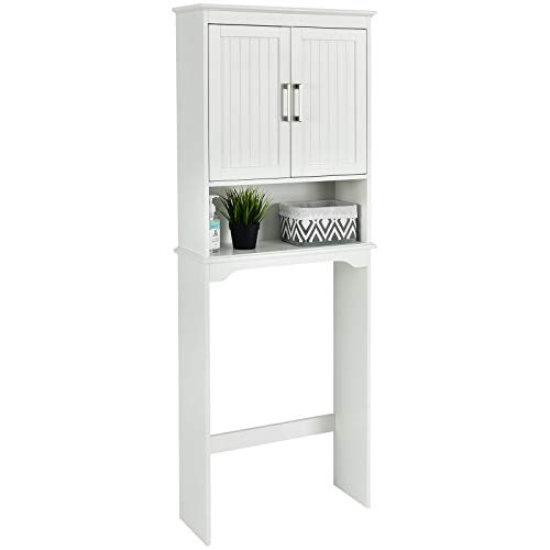 Giantex Over The Toilet Bathroom Space Saver Free Standing Toilet Rack with Adjustable Inner Shelf, Open Shelf and Double Doors 3-Shelf Bathroom Organizer,White