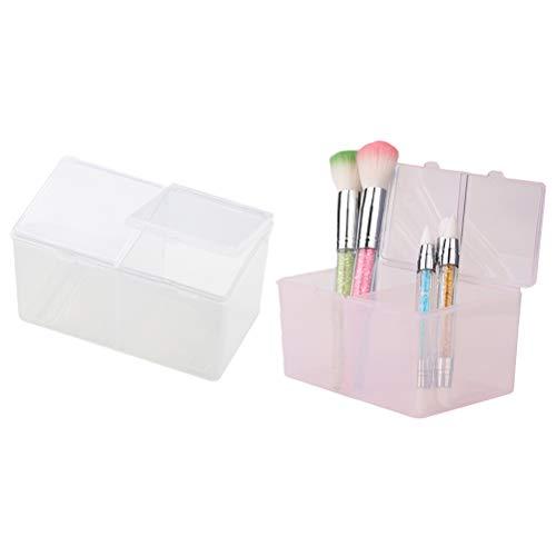 TOPBATHY 2pcs coton tampons titulaire organisateur de maquillage maquillage en plastique porte-coton-tige maquillage pad boîte de stockage de cosmétiques (rose transparent)