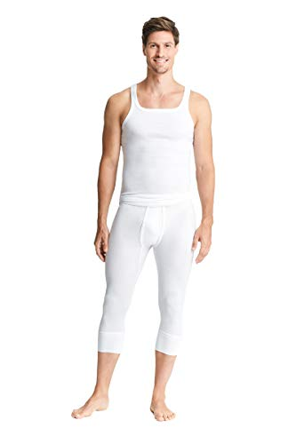 con-ta 3/4 Lange Hose mit Eingriff, Bequeme Unterhose für Herren, anschmiegsame Unterwäsche, Leggins aus weicher Baumwolle in Feinripp, in Weiß, Größe: 7/XL