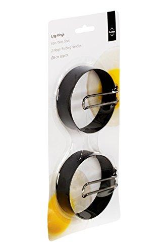 Premier Housewares  Non-Stick Egg Rings with Folding Handles, 7.5 cm, Set of 2