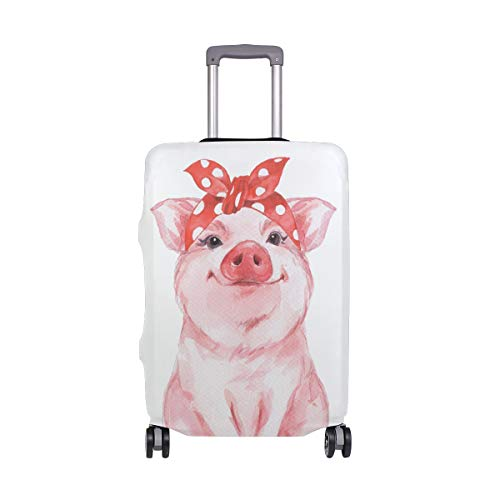 Moyyo Funny Pig Wearing Bandana Travel Luggage Cover Suitcase Protector Cover Elastic Washable Suitcase Cover Fits 22-24 inch Luggage
