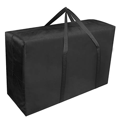 Exqline Large Storage Bag 165L Extra Large Moving Bag with Zips Strong Underbed Storage Bag 1680D Oxford Organizer Bag Ideal For Bedding, Duvets, Pillows, Clothes or Moving Home (Black, XL)