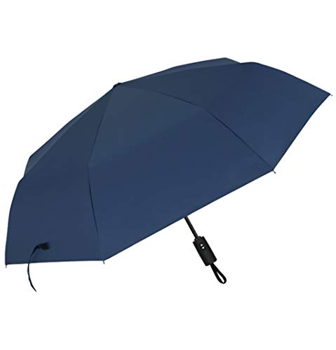 Sknonr Paraguas Plegable Reforzamiento Automático A Prueba de Viento Estudiantes de Negocios Día lluvioso Soleado Uso Doble 44.5x23.6in (Color : Blue)