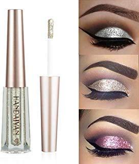 GL-Turelifes Sombra de ojos líquida con purpurina Lentejuelas estrelladas Sirena Sombra de ojos de larga duración Impermeable Brillante Maquillaje de ojos (# 7 Plata)