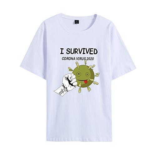 Mele Uomo Arresto Coronavirus I Survived COVID-19 T-Shirt Divertente Virus Protection novità Consigli Tee,Bianca,XXL