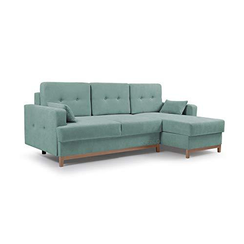 Ecksofa mit Schlaffunktion Eckcouch mit 2 X Bettkasten Sofa Couch L-Form Polsterecke Sophie (Mint, Ecksofa Rechts)