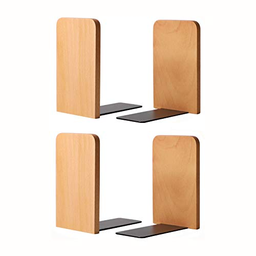 Muso Holz Buchstützen für Regale, Non-Skip Buchstützen für schwere Bücher, Buchenholz Buchstützen für Schule, Zuhause oder Büro (130x108x80mm-2 Paare)
