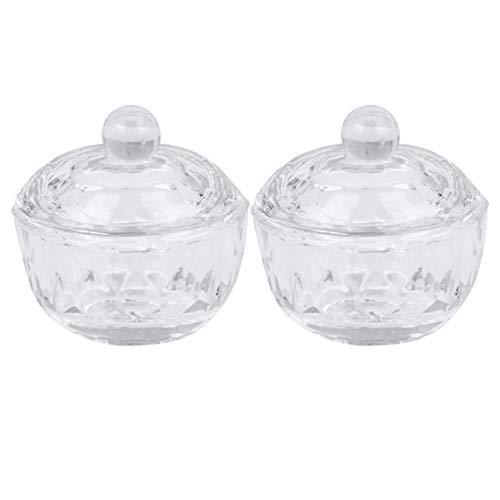 FRCOLOR 2Pcs Verre Cristal Nail Cup Dappen Plat Solution Arcylique Tasse Nail Art Produit Outil (Couleur Transparente Forme de Pomme Haute)