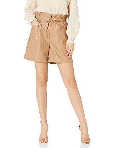 KENDALL + KYLIE Pantalón corto en piel vegana con cintura «paperbag», arena, XXS para Mujer