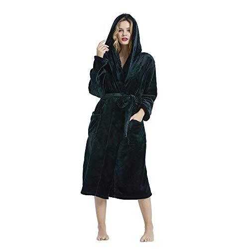 HEARTNICE Womens Hooded Fleece Robe, Soft Plush Bathrobe for Womens, Fluffy Cute Long House Coat (Black Hooded, 2XL/3XL)