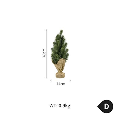 Mini simulation de sapin de Noël petit cèdre plastique arbre de Noël cône de pin flocon de neige bureau pin ornements de décoration de la maison (Color : D)