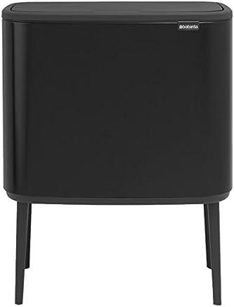Brabantia Bo触式垃圾桶,带塑料桶,11 L和23 L-亚光  黑色,钢制,2个内衬桶
