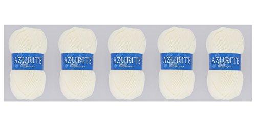 Lot 5 Pelotes de laine Azurite 100% Acrylique Tricot Crochet Tricoter - Ecru - 211