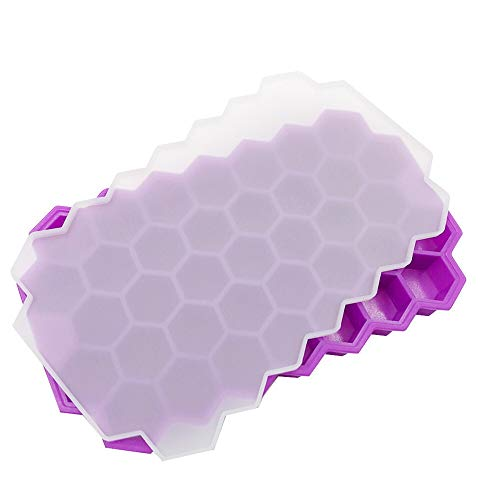 Moho 37 de Red de Caja de Nido de Abeja de Hielo del Cubo de Hielo de Silicona con Tapa en Forma de Panal de Caramelo Helado de Chocolate Molde apilable de Hielo Bandeja de Hielo Molde del Cubo