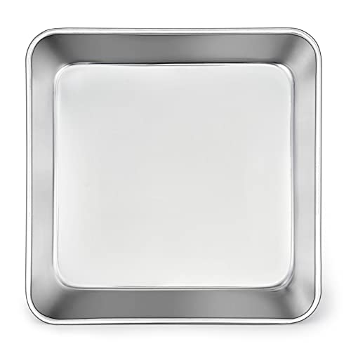 TeamFar Square Cake Pan, 9 Inch Stainless Steel Square Baking Roasting Pan for Cake Brownie Lasagna, Non-Toxic & Heavy Duty, One Piece Mold & Smooth, Dishwasher Safe & Easy Clean