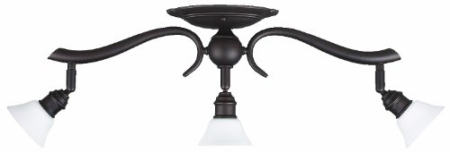 Canarm IT217A03ORB10 Addison 3-Light Dropped Track Lighting with Flat Opal Glass Shades, Oil Rubbed Bronze
