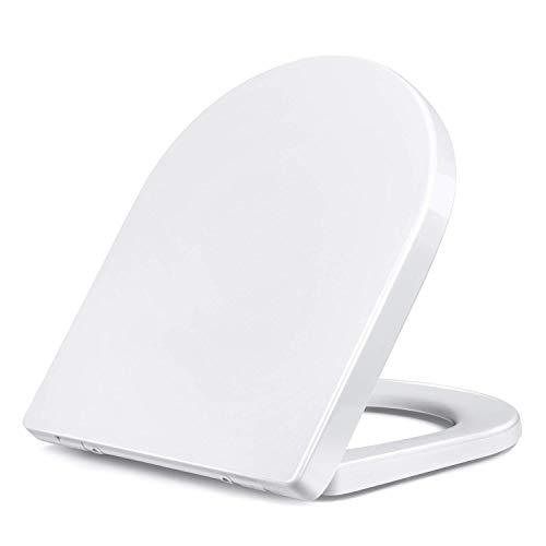 Amzdeal Copriwater, Sedile WC con Chiusura Ammortizzata, Slow Down Muto Coprivaso, in Materiale di Duroplast, bianco, Forma-U
