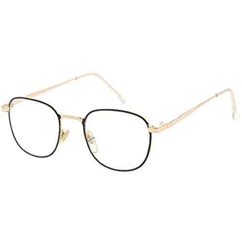 Kiss Neutrale Brille Hippie - mod. BREAKING BAD Walter - optischer rahmen VINTAGE mann frau unisex - GOLD and BLACK