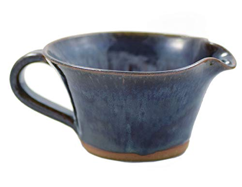 American Made Stoneware Pottery Mixing Bowl with Handle in Midnight Blue (Mini Size 12 oz)