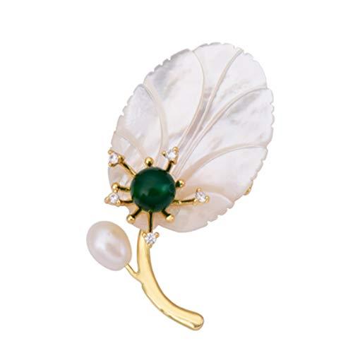 SSMDYLYM Shell de la Perla Natural de la Hoja Alto Grado de Collar Broche de Mujeres Pin Decorativo Simple cristalina de la Capa Pequeño Broche de Accesorios