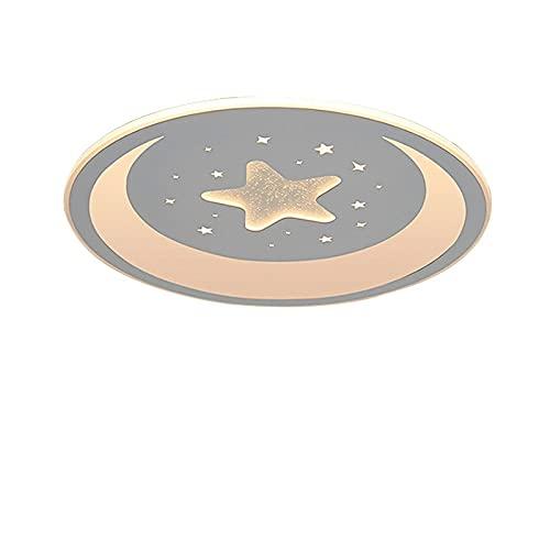Lámpara De Techo Regulable Para Habitación Infantil,Plafón Led De Techo Dormitorio Niño/Niña,Lámpara Romántica Con Personalidad De Estrella Y Luna 43Cm-32W Luz Blanca