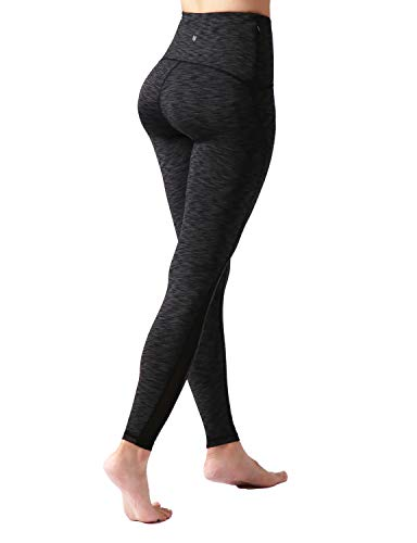ODODOS Womens High Waisted Tummy Control Mesh Workout Pants, Full-Length Leggings with Back Pockets, Spacedye Charcoal, Large