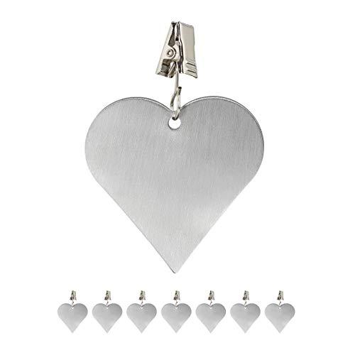 Relaxdays 8er Set Tischdeckenbeschwerer, Tischtuchhalter zum Beschweren, Herz, In-& Outdoor, Edelstahl, Silber, 8 Stück