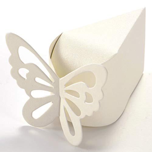 Cajas de dulces para regalo de mariposa, estilo de tarta, para bodas, fiestas de bebé, regalo para amigos, 50 unidades, color marfil, cómodo y respetuoso con el medio ambiente