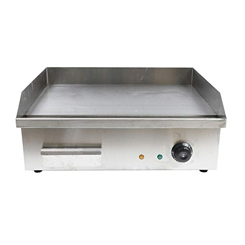 BoTaiDaHong 3000W Electric Commercial Grill Griddle Flat Hotplate Temperature Adjustable Stainless Steel Nonstick Large Cooking Surface Restaurant Grill BBQ Thermostat Electric Griddles