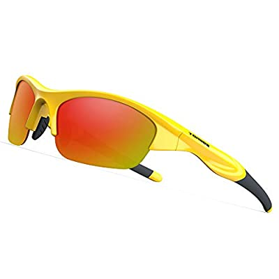 TOREGE Tr90 Flexible Kids Sports Sunglasses Polarized Glasses for Junior Boys Girls Age 3-6 TR041 (Yellow&Black with Red Lens)