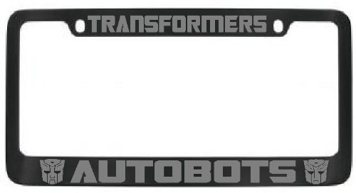Autobots Transformers License Plate Frame Black with Silver Lettering - 2 Free Caps