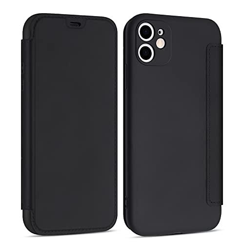 YEARN MALL Caso para el iPhone 12 Mini, PU Cuero Líquido Silicona Ultra-Delgado Elegante Folio Flip Wallet Case con Titular de la Tarjeta - Negro