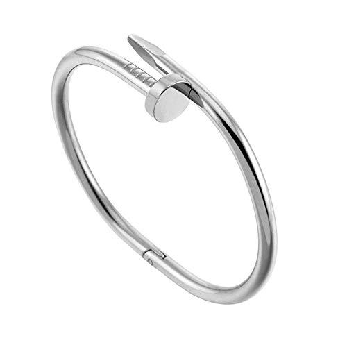 HUAHUA Armband Stil Gold Silber Zink-Legierung Nagel Armband Frauen Edelstahl Manschette Armreif Schmuck Paar Armbänder