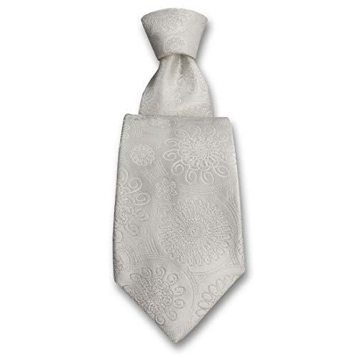 Robert Charles. Cravate. Astoria, Soie. Blanc, Paisley. Fabriqué en Italie.