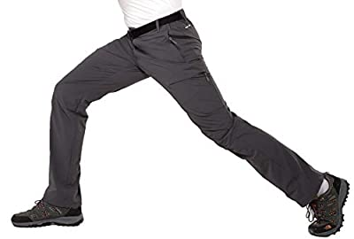 MIER Men's Lightweight Hiking Pants Outdoor Cargo Pants Quick Dry with 5 Pockets, Water Resistant, Graphite Grey, 40