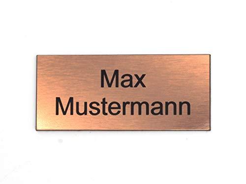Schilderino Briefkastenschild Türschild individuelle Gravur Name | selbstklebend - personalisiert | Kunststoff - Plastik | viele Farben und Größen (8x3,5cm Rechteck, Bronze-Schwarz)