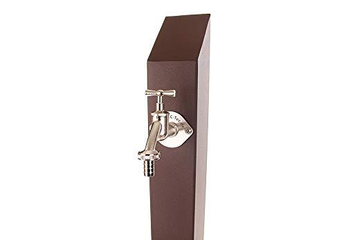 KTC Tec TSQS 1030 - Columna de agua potable, aspecto oxidado, color marrón, surtidor de agua, grifo de jardín, dispensador cuadrado