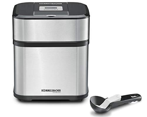 ROMMELSBACHER IM 12 Eismaschine \'Kurt\' (4-in-1 für Speiseeis, Frozen Yogurt, Sorbet & Slush, Füllmenge 500 ml für 1,5 Liter Eis, LCD-Anzeige, inkl. Eislöffel & Rezeptideen) Edelstahl, schwarz
