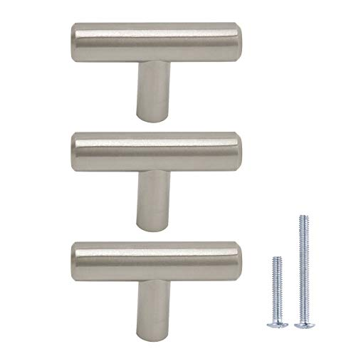 Gobrico 10 Pack Euro Style T-bar Kitchen Cabinet Handles Pulls Cupboard Drawer Dresser Knobs in Satin Nickel - Single Hole, 50mm/2in Overall Length
