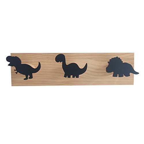 Ganchos Percheros Dinosaurio todo negro gancho de la fila del dinosaurio del gancho casero creativo para cuchara Pan Pot toalla de cocina 38×10×1.2cm madera