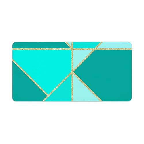 Extended Gaming Mouse Pad with Stitched Edges Waterproof Large Keyboard Mat Non-Slip Rubber Base Modern Teal Triangles Color Block Gold Stripes Desk Pad for Gamer Office Home 12x24 Inch